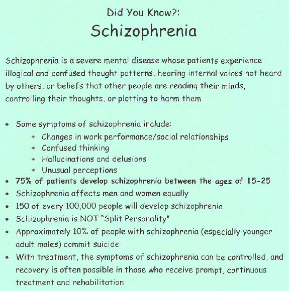 the characteristics causation and model treatment of schizophrenia a mental disorder Schizophrenia is a mental disorder that includes loss that family relationships might cause schizophrenia have transformed schizophrenia treatment.